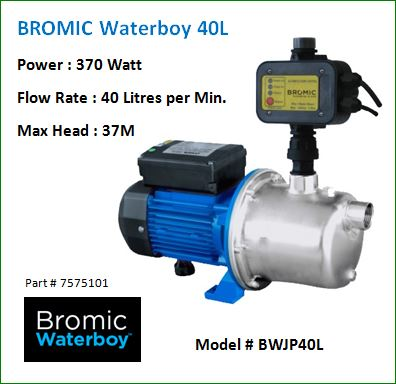 Bromic 40L Waterboy™ AUTO Jet Pump