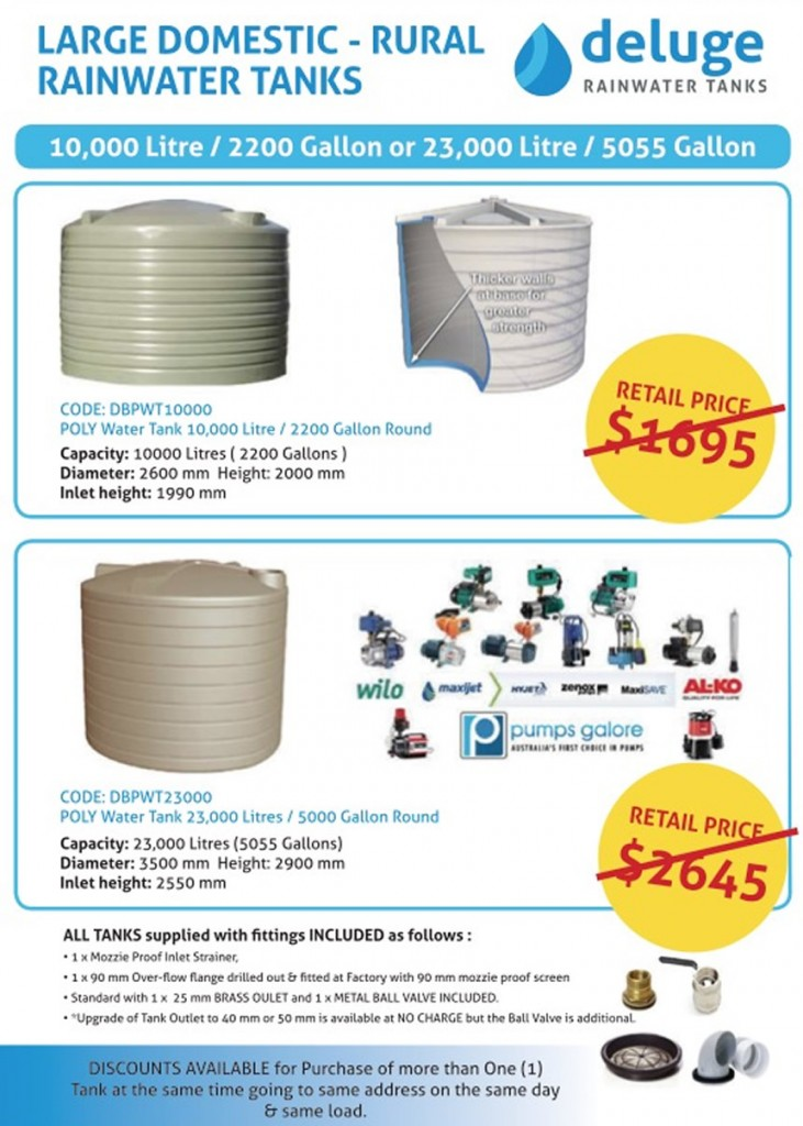 Deluge water tank price brochures